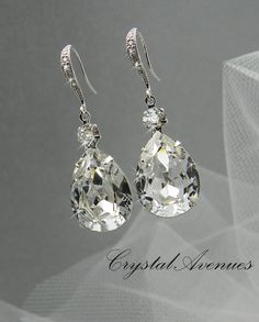 Swarovski crystal Bridal Earrings, Tear drop, Sterling Silver crystal inlay Ear wires,   Wedding,  Bridesmaids, Pear shape
