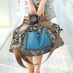 #LOVE #Ethnic Style Women's Tote Bag With Rivets and Splice Design