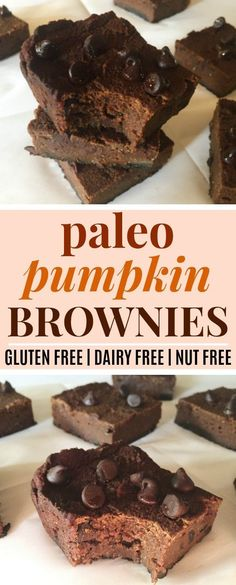 Pumpkin Paleo Brownies | These pumpkin paleo brownies are SO good! I love that they're paleo, gluten-free, grain-free, dairy-free, nut-free, and free of refined sugar! They're sweetened with honey, and they're super fudgy and delicious! Definitely pinning! #paleo #glutenfree #grainfree #nutfree Pumpkin Brownies, Paleo Brownies, Paleo Dessert, Healthy Desserts, Dessert Recipes, Paleo Sweets, Dessert Ideas, Paleo Recipes Easy, Real Food Recipes