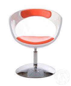 Modern Cutaway White & Red Chair