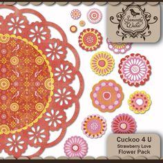 One large doily and 13 flowers of varying sizes and shapes to match the Cuckoo 4 U Strawberry Love color way.