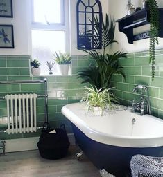 We love the different shades of green from the palm plants and b BATHROOM GOALS! We love the different shades of green from the palm plants and b Bad Inspiration, Bathroom Inspiration, Bathroom Styling, Bathroom Interior Design, Bad Styling, Bathroom Goals, Bathroom Layout, Traditional Bathroom, Trendy Home