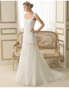 Elegante Einschulter A-linie Hochzeitskleider aus Spitze 172 EVA | luna novias 2014