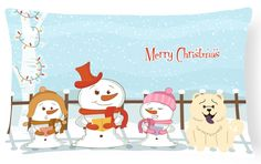 Merry Christmas Carolers Chow Chow White Canvas Fabric Decorative Pillow BB2471PW1216