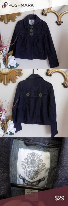 BB Dakota Dark Denim Jacket Like new condition. Pit to pit 17, L 23. 98% Cotton 2% Spandex Half open jacket.  2 side pockets. BB Dakota Jackets & Coats Jean Jackets