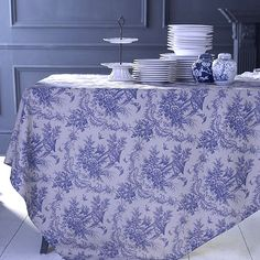 A classic Toile du Jouy table cloth