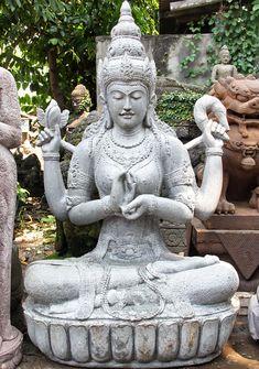 "View the Stone Dharmachakra Lakshmi Garden Statue 61"" at Hindu Gods"