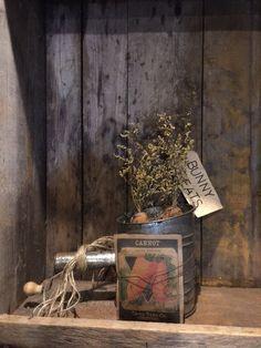 Primitive Old Sifter Spring Grubby Carrots Cupboard Tuck Arrangement Centerpiece