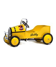 Look at this #zulilyfind! Yellow Retro Personalized Pedal Car Ride-On #zulilyfinds