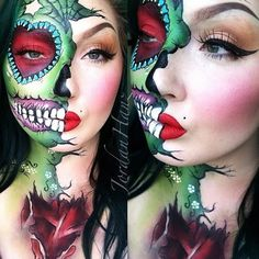 A #rp of one of my most recreated looks. This was for a collab with my mains @beautybydehsonae and @luvekat! This sugar skull zombie was ACTUALLY the product of an accidental misunderstanding! Hahaha. For product details, see original post...a bunch of posts down.