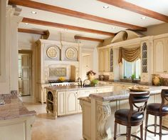 cherry cabinets with cream paint & travertine floors | Beautiful Kitchen Design with Cream Kitchen Cabinet Ideas in ...