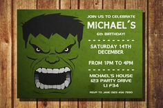 Personalized The Hulk Birthday Party Invitation Printable DIY Childrens Personalised Superhero Invite Superheroes The Hulk Avengers by TheDigiSloth on Etsy https://www.etsy.com/listing/256567355/personalized-the-hulk-birthday-party