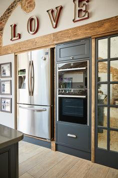Double over and stainless steel fridge flush with wall in bespoke kitchen design - The Main Company Kitchen Diner Extension, Open Plan Kitchen Diner, Open Plan Kitchen Living Room, Kitchen Dining Living, Cosy Kitchen, Barn Kitchen, Kitchen Decor, Kitchen Ideas, Industrial Style Kitchen