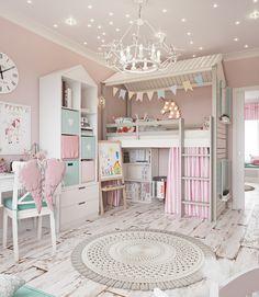 Room for a little princess on Behance Girls Room Design, Kids Bedroom Designs, Cute Bedroom Ideas, Room Design Bedroom, Small Room Bedroom, Bedroom Decor, Toddler Room Decor, Baby Room Decor, Little Girl Bedrooms