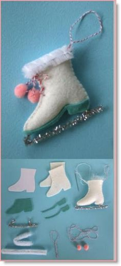 """Felt Christmas ICE SKATE ornament instructions – Felting Elizabeth Andrus of """"Creative Breathing"""" has several different felt ornaments with patterns for us to make. My favorite is the ice skate :) She has several other ornaments for us; Felt Christmas Decorations, Christmas Ornaments To Make, Christmas Sewing, Homemade Christmas, Holiday Crafts, Christmas Crafts, Christmas Porch, Christmas Patterns, Christmas Ornament Template"""