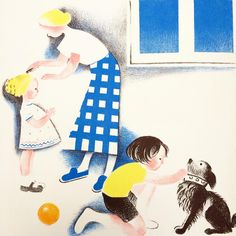 """englishmodernism: """" Collar and comb. Helene Guertik Stone lithograph from her 1934 Album du Pere Castor, Oh What a Beautiful Day, a story with pictures where each image has the outlines on the opposite page to be coloured in by the child. Kitty Crowther, Children's Book Illustration, Illustration Children, Picture Story, Book Design, Childrens Books, Character Design, Sketches, Drawings"""