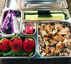 My daughter's @planetbox lunch for Thursday is marinated chicken over barley/rye rice, strawberries, @annieshomegrown yogurt, cucumbers  #lunch #bento #bentobox #organic #organicfood #healthy #healthyfood #healthykids #healthylife #healthyeating #Healthyfamily #instafood #instagood #eatyourveggies #eattherainbow #cleaneats #cleaneating #healthychoices #picoftheday #foodpic #foodie #eeeeeats #feedfeed #orlandoeats #healthymeals #kids...