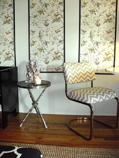 Adding Style With Framed Patterned Wallpaper. Cole & Son Humminbirds in panels.