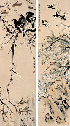 清代 - 任伯年 - 花鳥屏                           Painted by the Qing Dynasty artist Ren Bonian 任伯年.