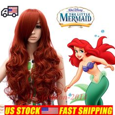 80cm Synthetic The Little Mermaid Ariel Long Curly Red Anime Cosplay Hair Wig #Aicos #FullWig
