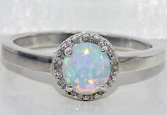 6mm Opal Round Diamond Ring .925 Sterling Silver Rhodium Finish