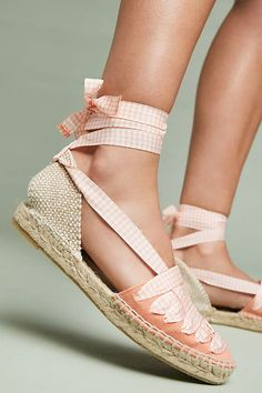 Spring's favorite style, the espadrille, is re-imagined with satin ribbon embellishments, which feature a playful gingham print for added style.