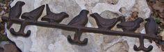 Bird Coat 6 Hook Key Hat Rack Garden Door Country Rustic Cast Iron Decor #129