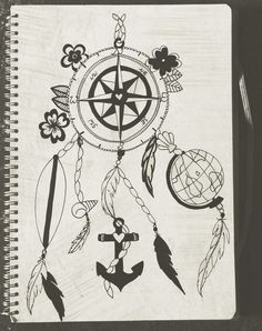 nautical dreamcatcher - surfboard, anchor & globe. floral tattoo design illustration.