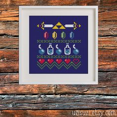 Adorn your walls with the power of the Triforce! In a slight Norwegian-meets-nerd style, this pattern elegantly shows your love of all things Zelda.