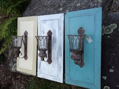 We made some beautiful wall sconces using antique door panels painted with chalk paint. by clarissa Cabinet Door Crafts, Diy Cabinet Doors, Cupboard Doors, Cabinet Knobs, Refurbished Furniture, Repurposed Furniture, Diy Furniture, Repurposed Doors, Painted Furniture