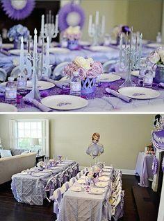 Fiesta de cumpleaños para niña de princesa en tonos lila