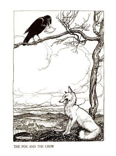 """Illustration for Aesop's """"The Fox and the Crow"""""""