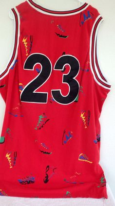 Michael Air Jordan #23 Sneaker Collage Men's Tank Top Shirt Red/Black Sewn Rare #Unbranded #GraphicTee