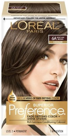 L'Oreal Paris Superior Preference Fade-Defying Color + Shine System - Light Ash Brown - 1 Kit L Deep Brown Hair, Light Ash Brown Hair, Ash Brown Hair Color, Red Hair Color, Cool Hair Color, Black Hair, Brown Brown, Ash Color, Red To Blonde
