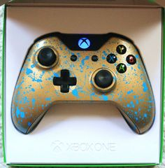 Xbox One Custom Controller BRAND NEW *** LED BLUE MOD ***Gold and blue splash in Video Games & Consoles, Accessories, Controllers | eBay