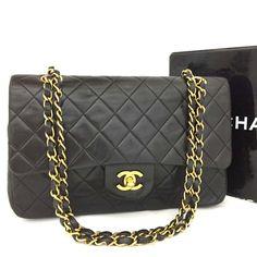 b1a21e09cb81 Details about CHANEL Double Flap 25 Quilted CC Logo Lambskin w Chain  Shoulder Bag Black e219