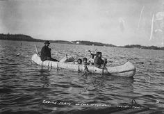 "Indian family in birch bark canoe, Lake of the Woods, 1911 From oral history biography, Paul Buffalo  Minnesota ""Chippewa"" and ""Ojibwa,"" and who call themselves Anishinabe"