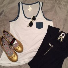 NWT- High Low Tank w/denim details and pocket White tank with denim trim and pocket, sheer back Color Story Tops Tank Tops