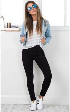 Fashion Killa jacket in light wash denim SHOWPO Fashion Online Shopping Outfit Jeans, Vans Outfit, Denim Jacket Outfits, Black Leggings Outfit Summer, Cute Legging Outfits, Denim Jacket Outfit Winter, Light Blue Jeans Outfit, Joggers Outfit, Comfy Outfit