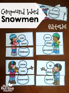 Editable Compound Word Snowmen - free - This Reading Mama