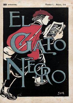 https://flic.kr/p/Ko4qHf | 1898_04_16 GATO NEGRO | El Gato Negro. Barcelona, Tomo I (16/04/1898), núm. 14, coberta, col.