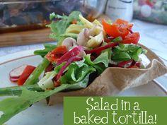Salad in baked tortilla