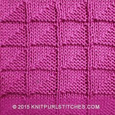 Over 100 knitting stitch patterns that can be made using only knit and purl stitches. Skill levels range from easy to intermediate Loom Knitting Stitches, Dishcloth Knitting Patterns, Knit Dishcloth, Arm Knitting, Knitted Squares Pattern, Knitting Squares, Knitted Washcloths, Labor, How To Purl Knit
