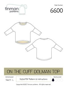 #6600 On The Cuff Dolman Top | Craftsy