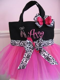 Embroidered Ballet Bag Black and Pink tutu tote by gkatdesigns