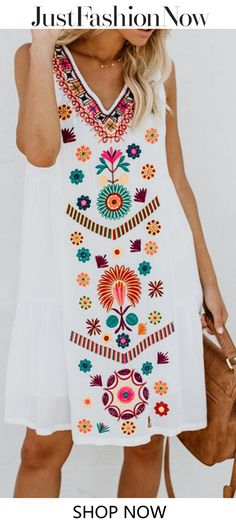 cab649ce87  27.99 V neck White Shift Women Daily Sleeveless Casual Printed Floral Summer  Dress White Women