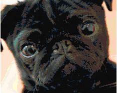 Where the Dog Is Tan Black Pug Cross Stitch Pattern   Etsy Black Pug, Black And White, Corgi Cross, Mixed Breed, Digital Pattern, Pugs, Dog Breeds, Cross Stitch Patterns, Animals