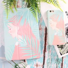 IPad protective case with leaves and girl pattern for inch