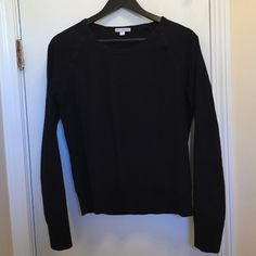 """James Perse Black Slub Sweatshirt - JP Size 4 (10) This James Perse sweatshirt is made of 100% cotton and has a slight slight slub effect (tried to capture this in the 2nd picture) and baseball sleeves. It's in good condition - no holes or stains, but there is some pilling, mainly along the bottom hem (see 3rd picture) and some loose threads. James Perse size 4 is about a size 10 in my opinion, XL in his. (I'm a L, fits a bit snug.) Measurements: length (front) = 19.5"""", length (back) = 23""""…"""