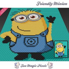 Friendly Minion, Despicable Me inspired c2c graph crochet pattern; instant…